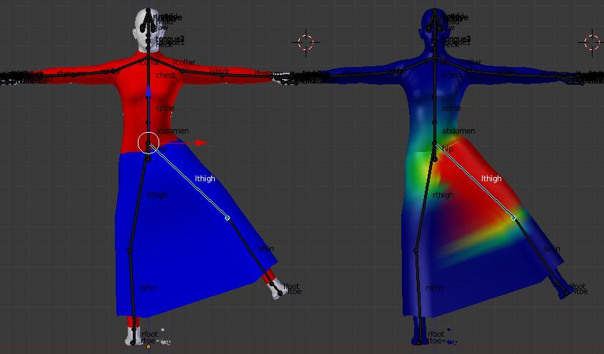 смещение костей при анимации