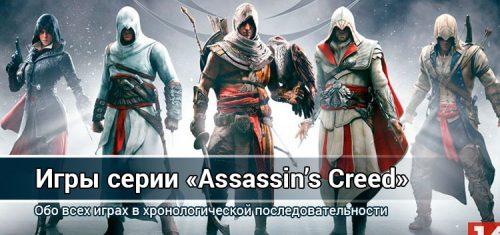 Все части серии игр ASSASSIN`S CREED по годам выхода
