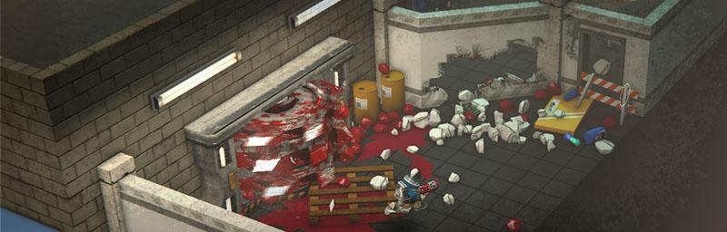 Разрушение стены, обломки и кровь