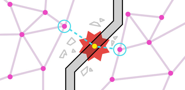 Новый узел графа чтобы проложить путь через разрушение, вид сверху