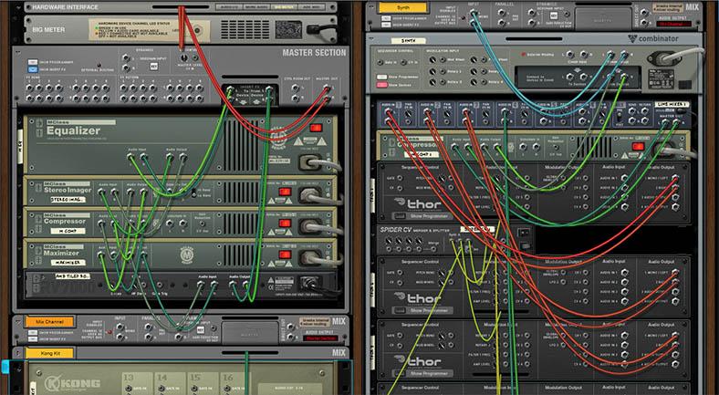 Использованное подключение устройств в звуковом редакторе Reason